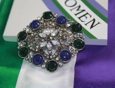 Green, White and Violet Gemstones. Give Women The Vote Edwardian Style, Edwardian Fashion, Suffragette, Hand Coloring, Rosettes, Costume Jewelry, Color Schemes, Brooch, Hand Painted