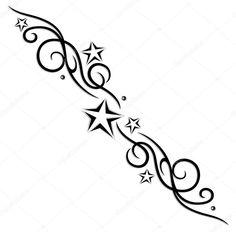 Filigrane Tribal, Tattoo mit Sternen