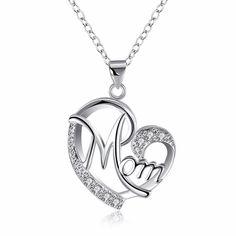 Los mejores Regalos Para la Mamá Del Corazón Colgante de Collar Para Las Mujeres Con Piedra de LA CZ Joyería de La Madre de La Moda