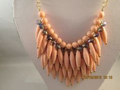 4 Row Layered  Bib Necklace with Pink Beads on a by maryannsway on etsy