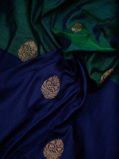 Blue And Peacock Green Half Half Antique Zari Pure Katan Silk Banarasi Saree South Indian Wedding Saree, Indian Bridal Sarees, Wedding Silk Saree, Indian Silk Sarees, Brocade Blouse Designs, Pattu Saree Blouse Designs, Bridal Blouse Designs, Indian Fashion Dresses, Dress Indian Style