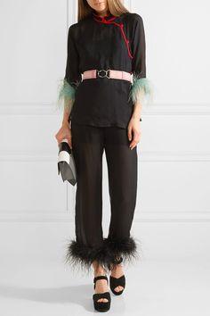 Prada   Feather-trimmed silk-georgette straight-leg pants   NET-A-PORTER.COM
