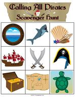 Pirate Halloween Scavenger Hunt Game. Pirate party game.