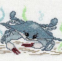 Happy Crab Cross Stitch - a free cross stitch design using Kreinik threads.