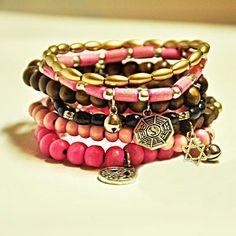 Pink, Brown & Gold Wrap Bracelets