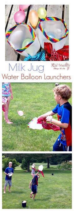 Milk Jug Water Balloon Game for kids. Easy DIY Outdoor summer family fun. Perfect for summer parties. www.kidfriendlythingstodo.com