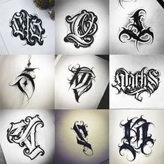 Chicano Lettering, Tattoo Lettering Fonts, Graffiti Lettering, Graffiti Art, Geometric Tattoos Men, Tribal Tattoos, Fonte Alphabet, Tattoo Drawings, Tattoo Art