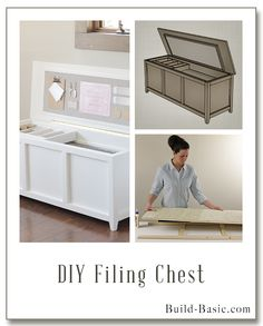 Get organized with this easy DIY Filing Chest! Full building plans include almost 4 feet of hanging file storage, a sliding tray for supplies, and a fabric bulletin board for reminders. Free plans by @BuildBasic include photos and cut list. #Woodworking #DIY #Office #FilingChest #Organization #OfficeStorage #FilingCabinet #FreePlans #HowTo