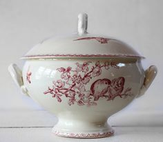 "Red Soup Tureen | Beautiful french SOUP TUREEN Red BIRDS ""Favori "" Sarreguemines"