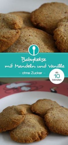 Mandelkekse mit Vanille für Babys ab 10 Monaten – ohne Zucker Sugar-free almond cookies with vanilla for babies from 10 months and toddlers. So tasty, you have to try them Biscuits Packaging, Cookie Packaging, Homemade Baby Foods, Homemade Cookies, Baby Food Recipes, Baking Recipes, Baby Snacks, Best Christmas Cookies, Almond Cookies