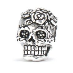 Bella Fascini Dia De Los Muertos - Day Of The Dead Decorated Rose Skull - Cole Collection - Solid 925 Sterling Silver European Charm Bracelet Bead - Compatible Brands: Authentic Pandora, Chamilia, Moress, Troll, Ohm, Zable, Biagi, Kay's Charmed Memories, Kohl's, Persona & more! Bella Fascini Beads,http://www.amazon.com/dp/B00H087VQG/ref=cm_sw_r_pi_dp_PcpNsb12ZMR2RC4T