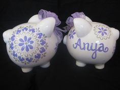 pintado a mano de la hucha personalizada pbk dahlia Damasco púrpura irridescent