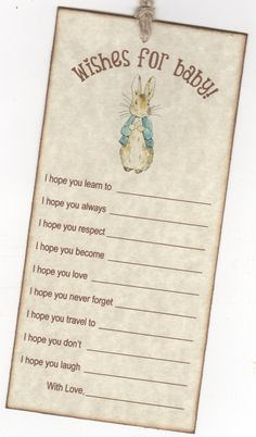 10 Peter Rabbit Wish Cards Baby Shower Wish Advice by luvs2create2