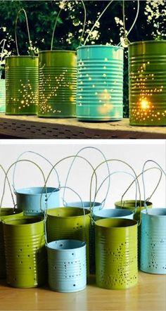 diy ideen konservendosen laternen gartenbeleuchtumg mit kerzen
