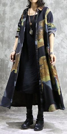 Loose Vintage Cotton Linen Print Long Wind Coat For Women Loose Vintage Cotton Linen Print Long Wind Coat para mulheres Iranian Women Fashion, Muslim Fashion, Street Hijab Fashion, Denim Coat, Vintage Cotton, Coats For Women, Dress To Impress, Mantel, Casual Outfits