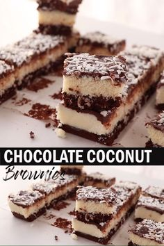Coconut lovers, this Easy Chocolate Coconut Brownies recipe is just for you! A fudgy and rich chocolate brownie, a sticky coconut filling and a topping of gooey ganache. You could call almost call them bounty brownies. Brownie Recipe Video, Chocolate Cake Recipe Easy, Chocolate Chip Cookie Dough, Brownie Recipes, Chocolate Desserts, Cookie Recipes, Chocolate Ganache, Chocolate Drip, Desert Recipes
