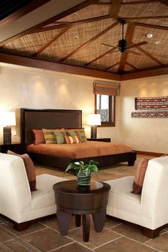Bedroom Style Tropical Interior Soothing Asian Bedroom Designs That Will Impress You. Small Tropical Style Beach House Opens Up To The World Outside. Home Design Ideas Bedroom Photos, Home Bedroom, Bedroom Decor, Design Bedroom, Bedroom Ceiling, Master Bedroom, Interior Exterior, Interior Design, Hawaiian Homes