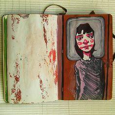 sketchbooks by L Filipe dos Santos, via Behance Moleskine, Art Sketches, Art Drawings, Drawing Faces, Arte Sketchbook, Sketchbook Layout, Sketchbook Ideas, Copic, Character Art