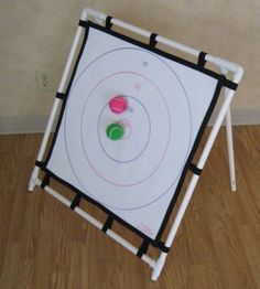 PVC pipe ideas - You could use this for reinforcement ideas, motor planning, or create boards with letters, numbers, shapes, colors and have the kids say what they hit with their ball.