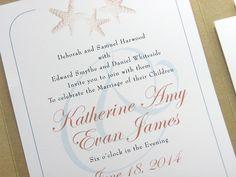 Beach Wedding Invitation Golden Starfish Custom Recycled Pocketfold Invite Traditional Wedding Teal Ampersand Belly Band or Raffia Wrap