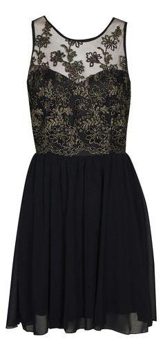 Metallic Floral Chiffon Dress <3
