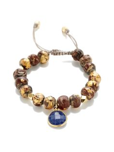 Wood & Sapphire Adjustable Bracelet by Alanna Bess Jewelry at Gilt