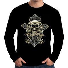 Velocitee Mens Long Sleeve T Shirt Brotherhood Biker Cross Skulls Harley W12861 #Velocitee