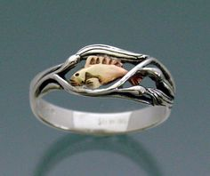 Fish In Kelp Ring Bi-metal - Sterling silver & Bronze. Etsy.  Reminds me of a goldfish I once had.