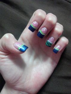 Seahawk Superbowl Acrylic Glitter Nails: Pink, Navy Blue, Lime Green