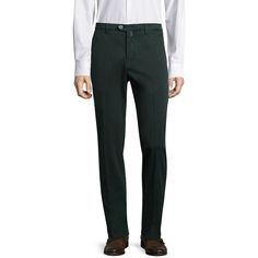 Kiton Slim-Fit Stretch-Cotton Chinos (9,440 MXN) ❤ liked on Polyvore featuring men's fashion, men's clothing, men's pants, men's casual pants, mens green chino pants, mens chino pants, mens green pants, mens slim fit pants and mens zipper pants