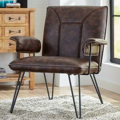 Accent side chari for modern industrial look- Arnaz Side Chair Room Chairs, Side Chairs, Dining Chairs, Parsons Chairs, Barrel Chair, Chair Upholstery, Living Room Modern, Living Area, All Modern