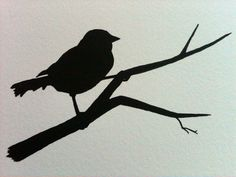 Bird Silhouette Watercolor Card. $4.00, via Etsy.