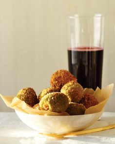 These olives are stuffed with creamy blue cheese and fried.