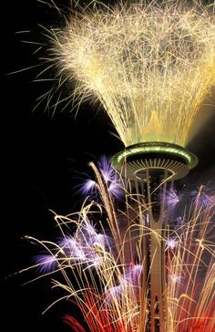 Fireworks off the Space Needle. The restaurant at the top rotates.  There is a viewing floor on top also.  Half way down is another room for banquets.