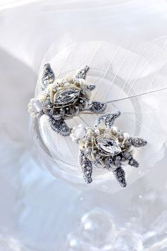 Pair of Turtle brooches Nature inspired Designer jewelry Turtle embroidered art pearl silver brooches Together forever 1st anniversary gift