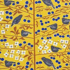 Almedahls Körsbärsträdgården Scandinavian fabric designed by Marianne Westman, (Sweden), 1950s