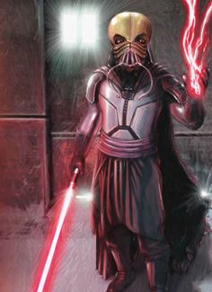 Darth Tenebrous, also known as Rugess Nome, was a Dark Lord of the Sith of the lineage of Darth Bane. In his public persona as Nome, he was a legendary artisanal starship designer with a reputation spanning the galaxy; as the Sith Lord Darth Tenebrous, he was a scientific mastermind possessed of a calculating intellect with an obsession on shaping the future, and the master of Darth Plagueis
