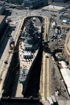 USS Iowa at dry dock 4, Norfolk Naval Dockyard