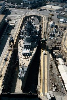 USS Iowa at dry dock 4, Norfolk Naval Dockyard