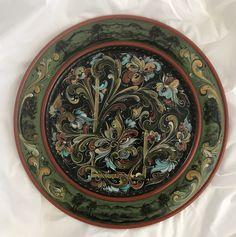 Norwegian Rosemaling, Handpainted decorative wooden plate, Telemark Rosemaling, Norwegian Folk Art, Wooden plate, hand painted gift