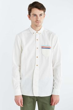 Koto Cairo Crochet Pocket Button-Down Shirt