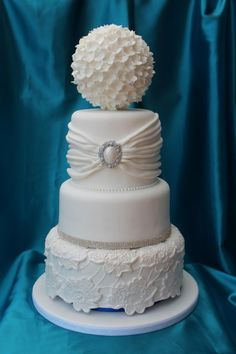 Vintage Lace Wedding Cakes | Vintage Wedding Cake With Lace Pearls And Fabric Drapes | Blueberry ...