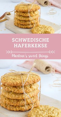 Swedish oatmeal cookies or Havreflarn: These crispy sweet oatmeal cookies . - Swedish oatmeal cookies or Havreflarn: These crispy sweet oatmeal cookies taste good all year round - Smoothie Recipes, Smoothies, Cookie Recipes, Dessert Recipes, New Fruit, Oatmeal Cookies, Food Items, Easy Meals, Snacks