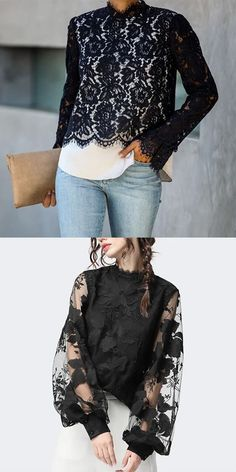 Black Blouses Women's fashion blouses, fashion casual style and comfortable material you will love it, tops, jumpsuits and dresses you can options. Black Women Fashion, Look Fashion, Fashion Outfits, Fashion Blouses, Womens Fashion, Tank Top Outfits, Casual Outfits, Blouse Styles, Blouse Designs