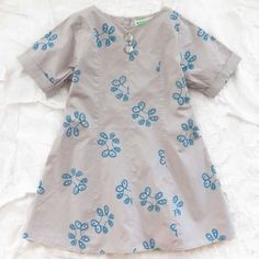 Buy wovenplay louise dress - azure from Thumbeline Dress Outfits, Kids Outfits, Cuff Sleeves, Sewing For Kids, Dress First, Floral Motif, Cotton Dresses, Short Sleeve Dresses, One Piece