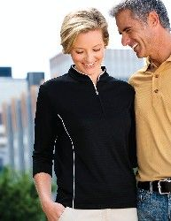 Glendora Gold Shirt Women's 6.1 oz. 100% polyester textured jacquard 1/2 zip pullover shirt. Features Tri-Mountain UltraCool moisture wicking technology. Contrast piping along front and back body, collar and placket. Mandarin collar and 3/4 sleeves.