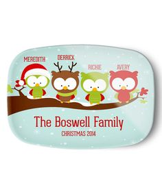 Look what I found on #zulily! Christmas Four-Owl Family Personalized Platter by Avery & Ethan #zulilyfinds