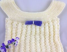 Cream Hand Knit Lacy Baby Dress Lavender Hand Crochet Bow 12 months