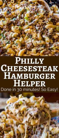 Philly Cheesesteak Hamburger Helper will make you forget all about the boxed type you had as a kid, you'll love this creamy, cheesy cheesesteak pasta. recipes hamburger pasta Philly Cheesesteak Hamburger Helper - Dinner, then Dessert Hamburger Meat Recipes Ground, Hamburger Dishes, Quick Hamburger Meals, Hamburger Casserole, Hamburger Dinner Ideas, Homemade Hamburger Helper, Pasta Recipes With Ground Beef, Pasta With Hamburger, Quick Meals