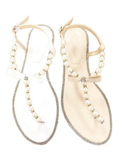 Women Pearls Flat Sandals  White and Nude Patent
